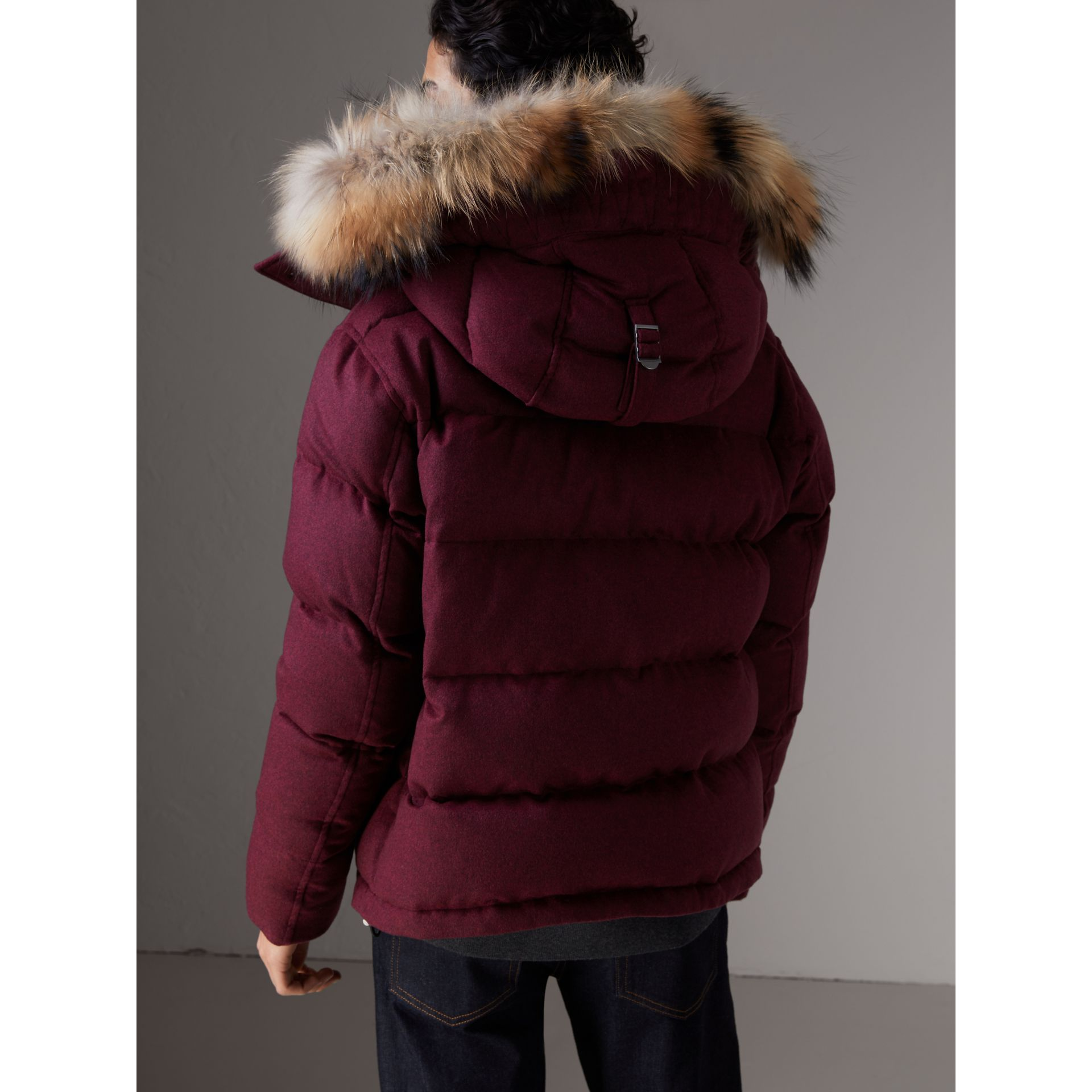 Short Detachable Fur Trim Cashmere Puffer Jacket in Dark Plum Melange - Men | Burberry - gallery image 3
