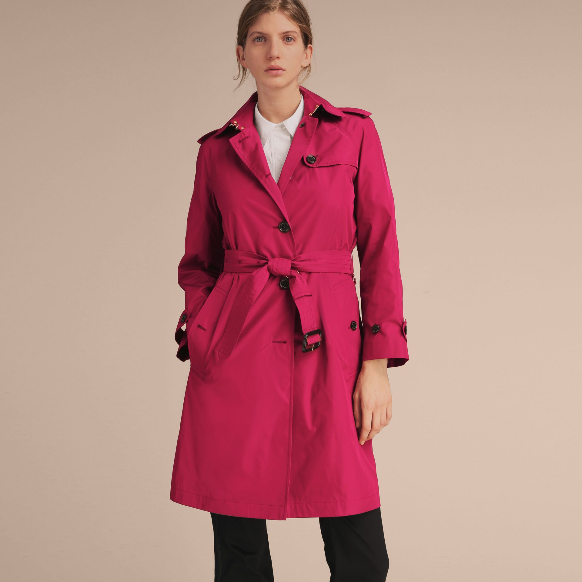 Single-breasted Technical Trench Coat Damson Magenta - gallery image 7