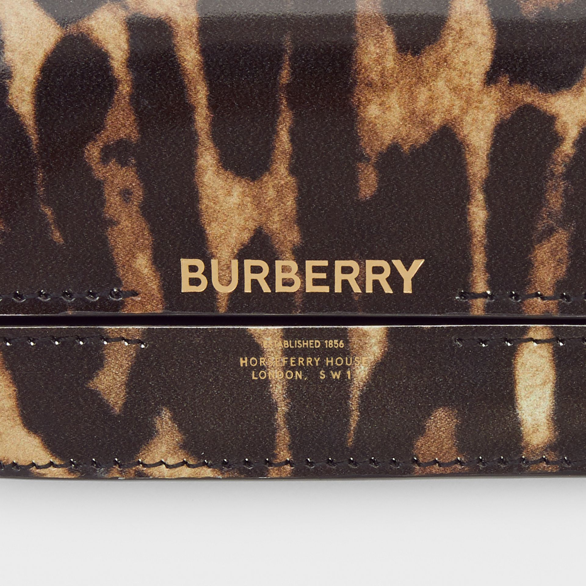 Leopard Print Leather Card Case with Chain Strap in Dark Mustard - Women | Burberry - gallery image 1