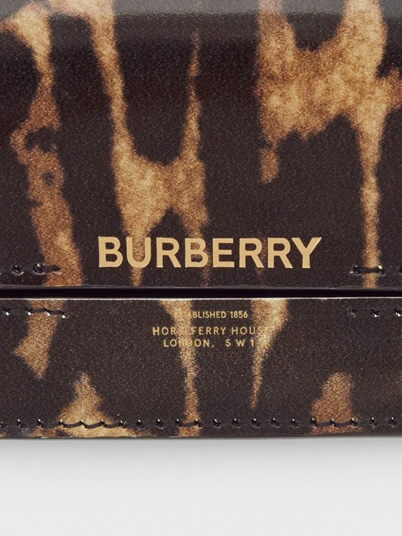 Leopard Print Leather Card Case with Chain Strap in Dark Mustard - Women | Burberry - cell image 1