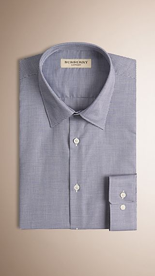Modern Fit Micro Houndstooth Check Cotton Shirt