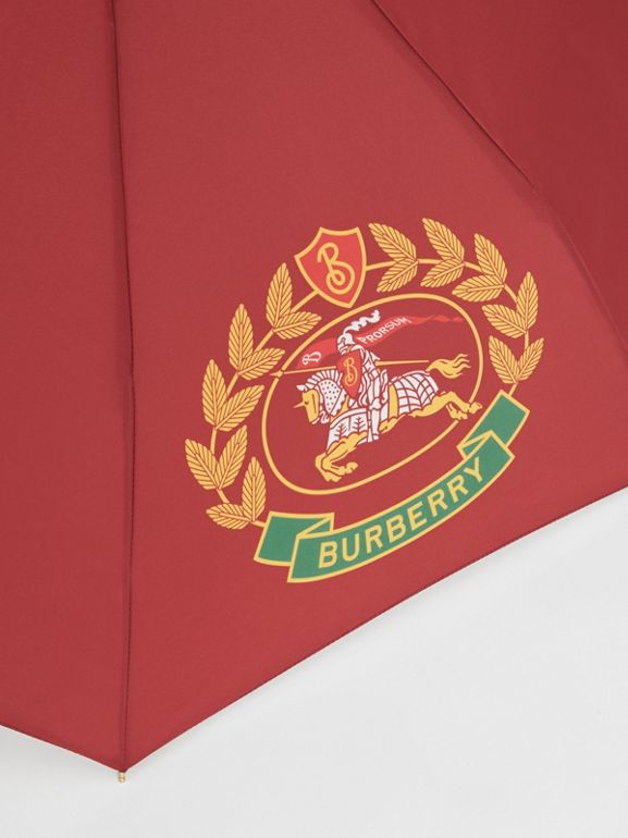 Crest Print Folding Umbrella in Claret | Burberry - cell image 1