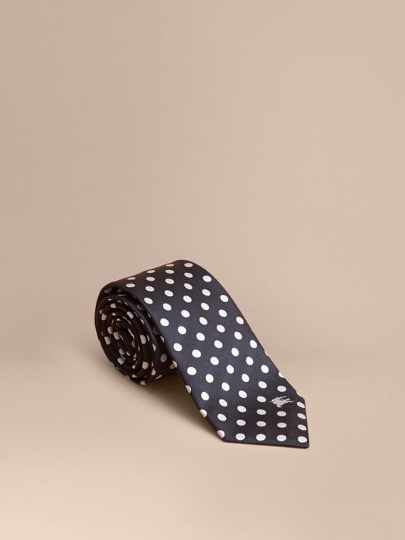 Modern Cut Polka-dot Silk Jacquard Tie Dark Navy