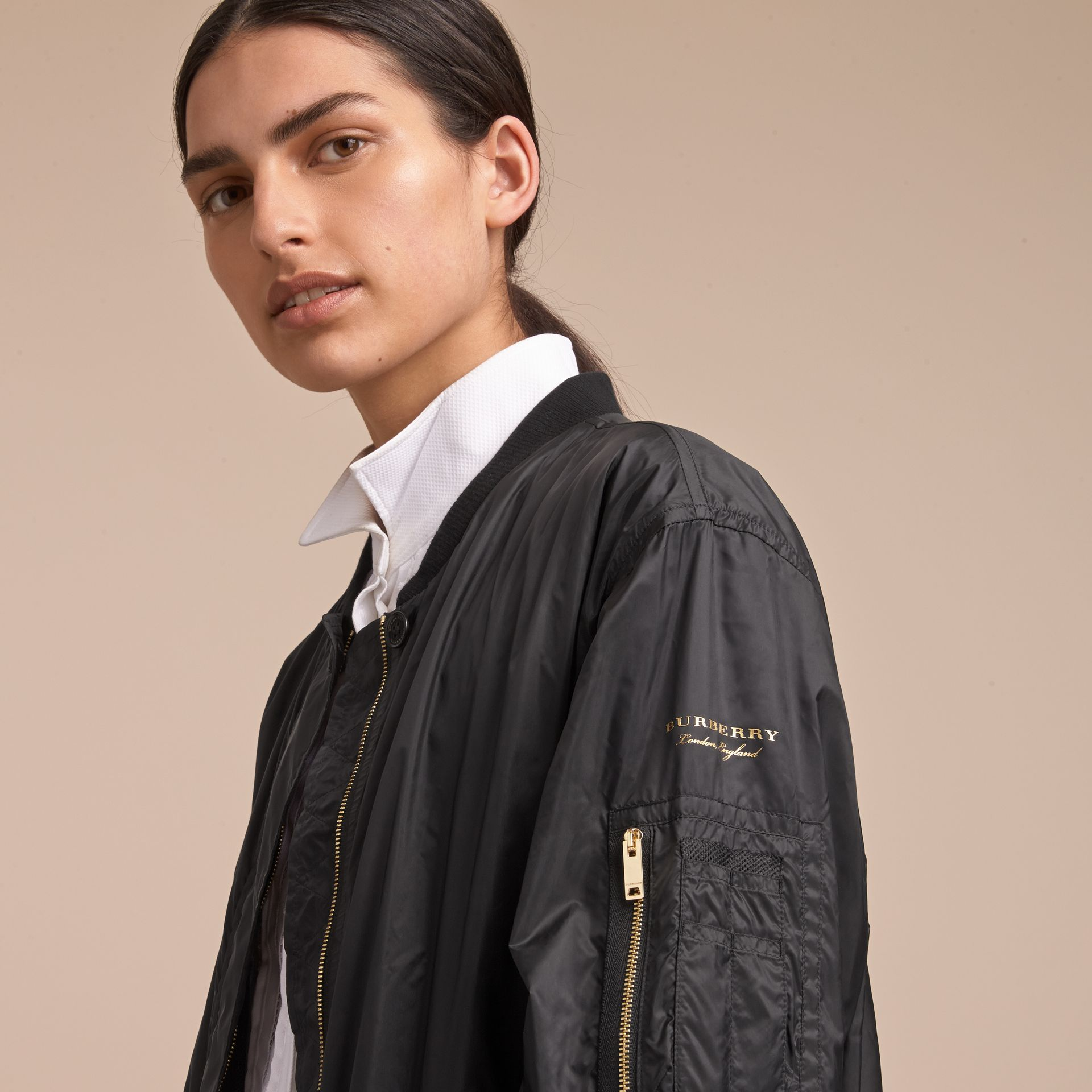 Lightweight Bomber Jacket in Black - Women | Burberry - gallery image 5