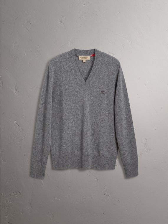 Cashmere V-neck Sweater in Mid Grey Melange - Men | Burberry Singapore - cell image 3