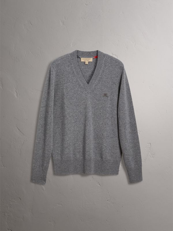 Cashmere V-neck Sweater in Mid Grey Melange - Men | Burberry - cell image 3
