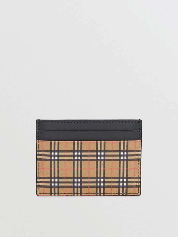 Vintage Check and Leather Card Case in Antique Yellow/dark Grey - Men | Burberry - cell image 2