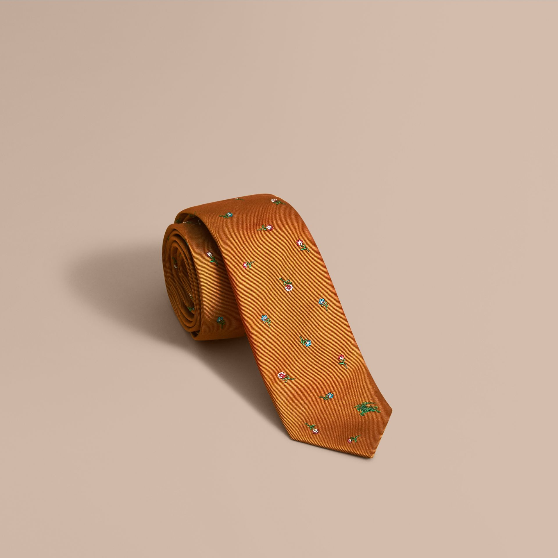 Slim Cut Floral Silk Jacquard Tie in Copper - Men | Burberry - gallery image 1