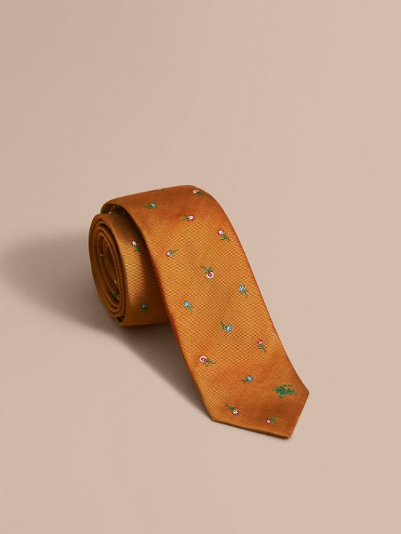 Slim Cut Floral Silk Jacquard Tie Copper