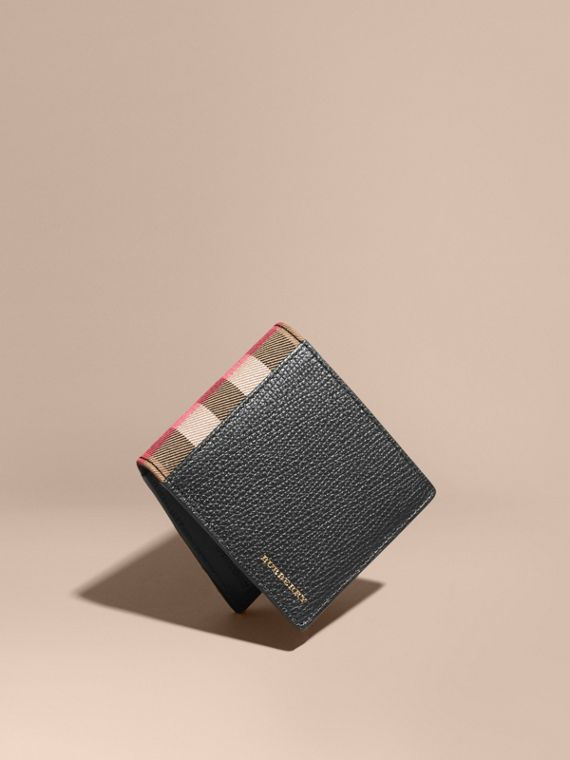 Leather and House Check International Bifold Wallet in Black | Burberry