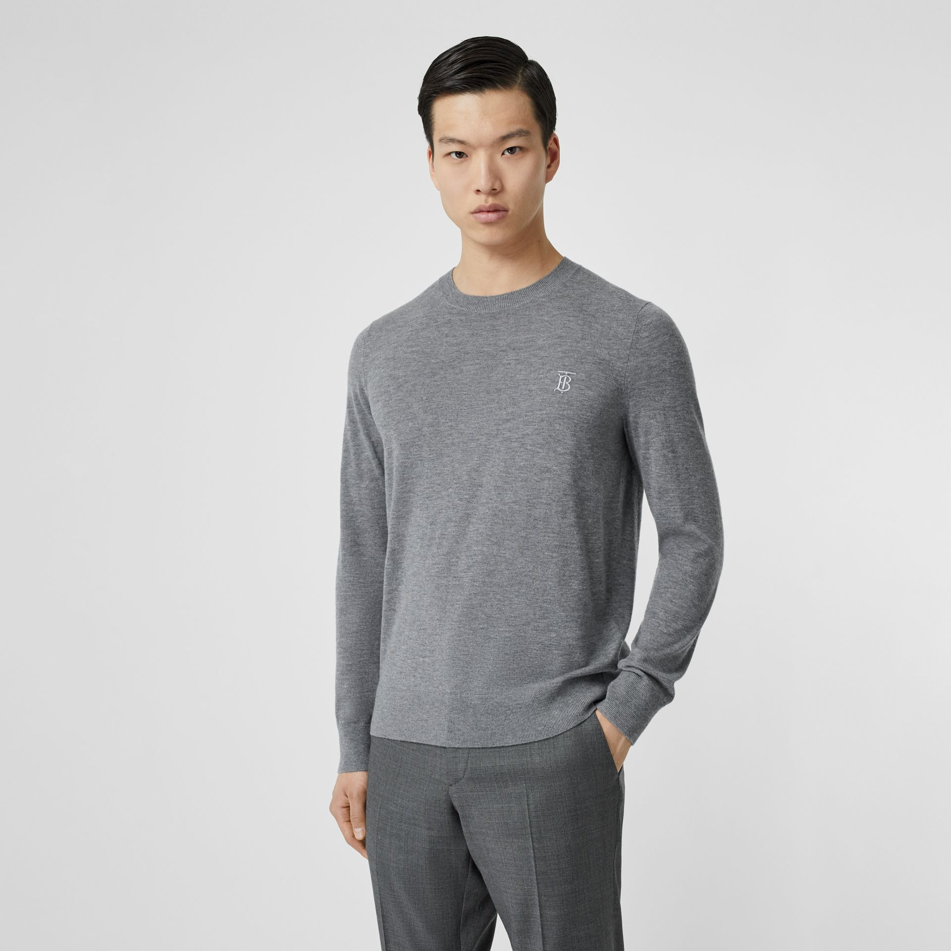 Monogram Motif Cashmere Sweater in Pale Grey Melange - Men | Burberry United Kingdom - gallery image 4