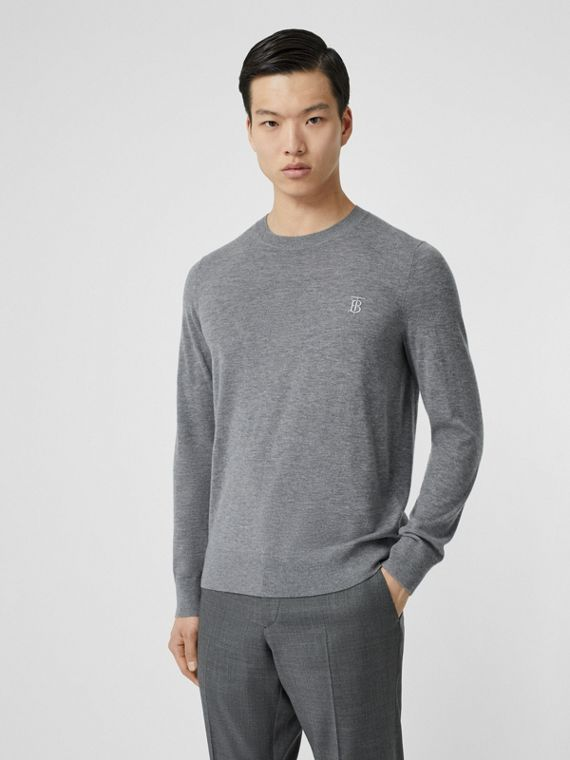Monogram Motif Cashmere Sweater in Pale Grey Melange