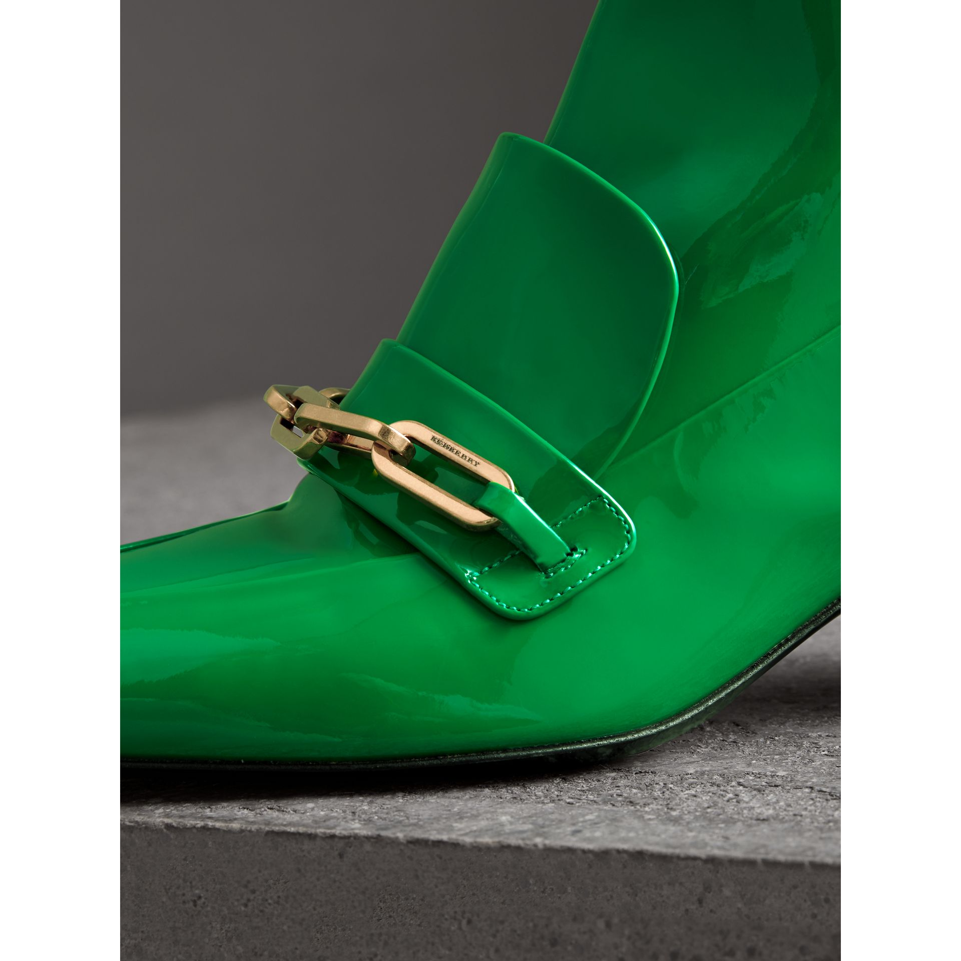 Link Detail Patent Leather Ankle Boots in Bright Pigment Green - Women | Burberry United Kingdom - gallery image 1