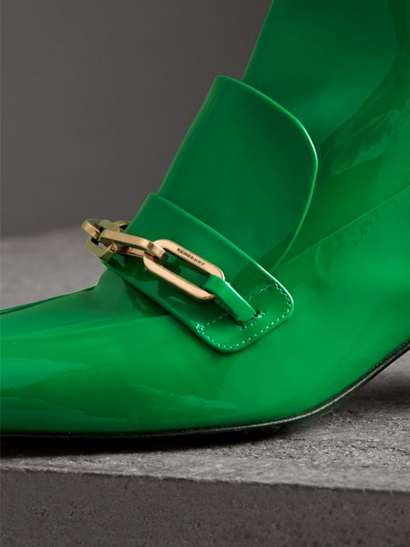 Link Detail Patent Leather Ankle Boots in Bright Pigment Green - Women | Burberry - cell image 1