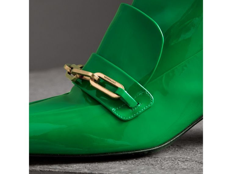 Link Detail Patent Leather Ankle Boots in Bright Pigment Green - Women | Burberry Australia - cell image 1