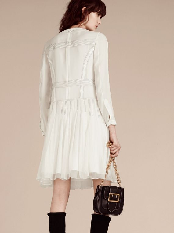 White Topstitched Panelled Silk Dress - cell image 2