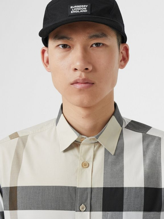 Check Stretch Cotton Poplin Shirt in Modern Beige - Men | Burberry United Kingdom - cell image 1