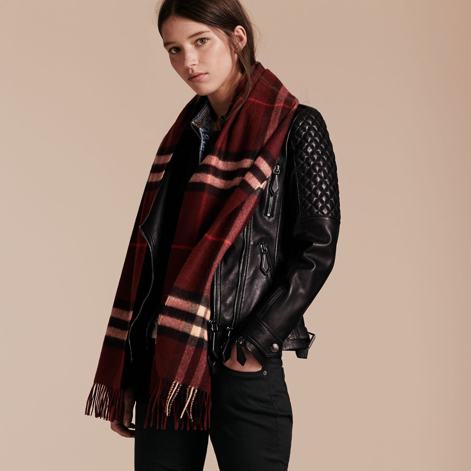 The Classic Check Cashmere Scarf in Claret | Burberry Australia - gallery image 3