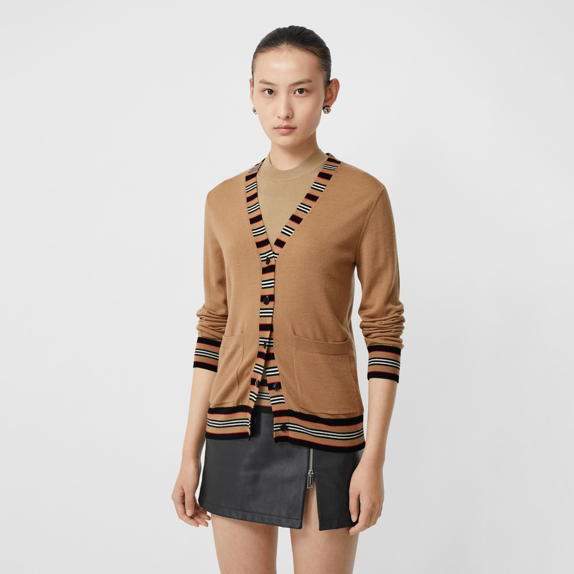 Icon Stripe Detail Merino Wool Cardigan in Camel - Women | Burberry - gallery image 5