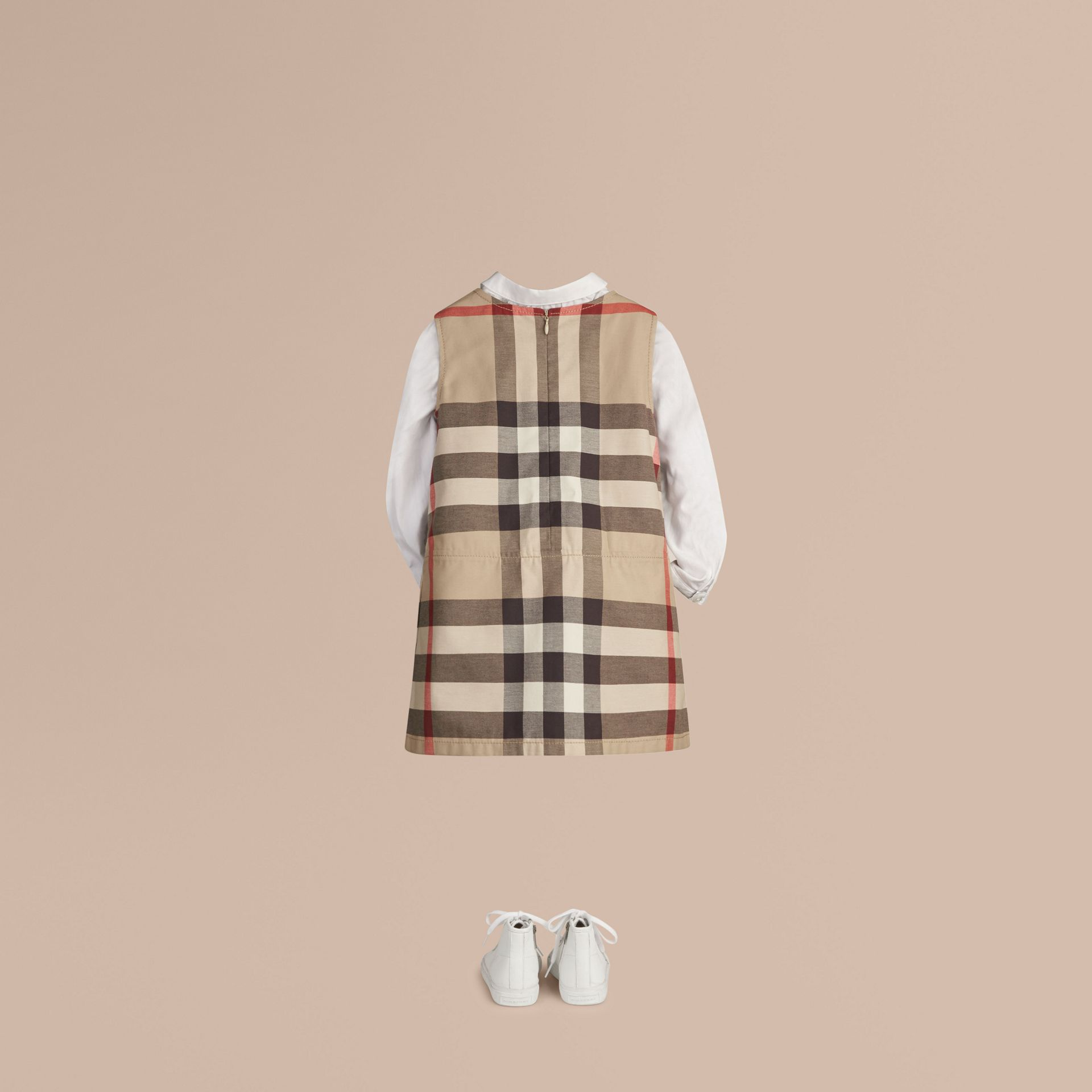 Check Cotton Dress with Inverted Pleats in New Classic - Girl | Burberry - gallery image 3