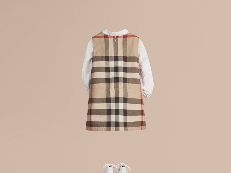 Check Cotton Dress with Inverted Pleats in New Classic - Girl | Burberry - cell image 2