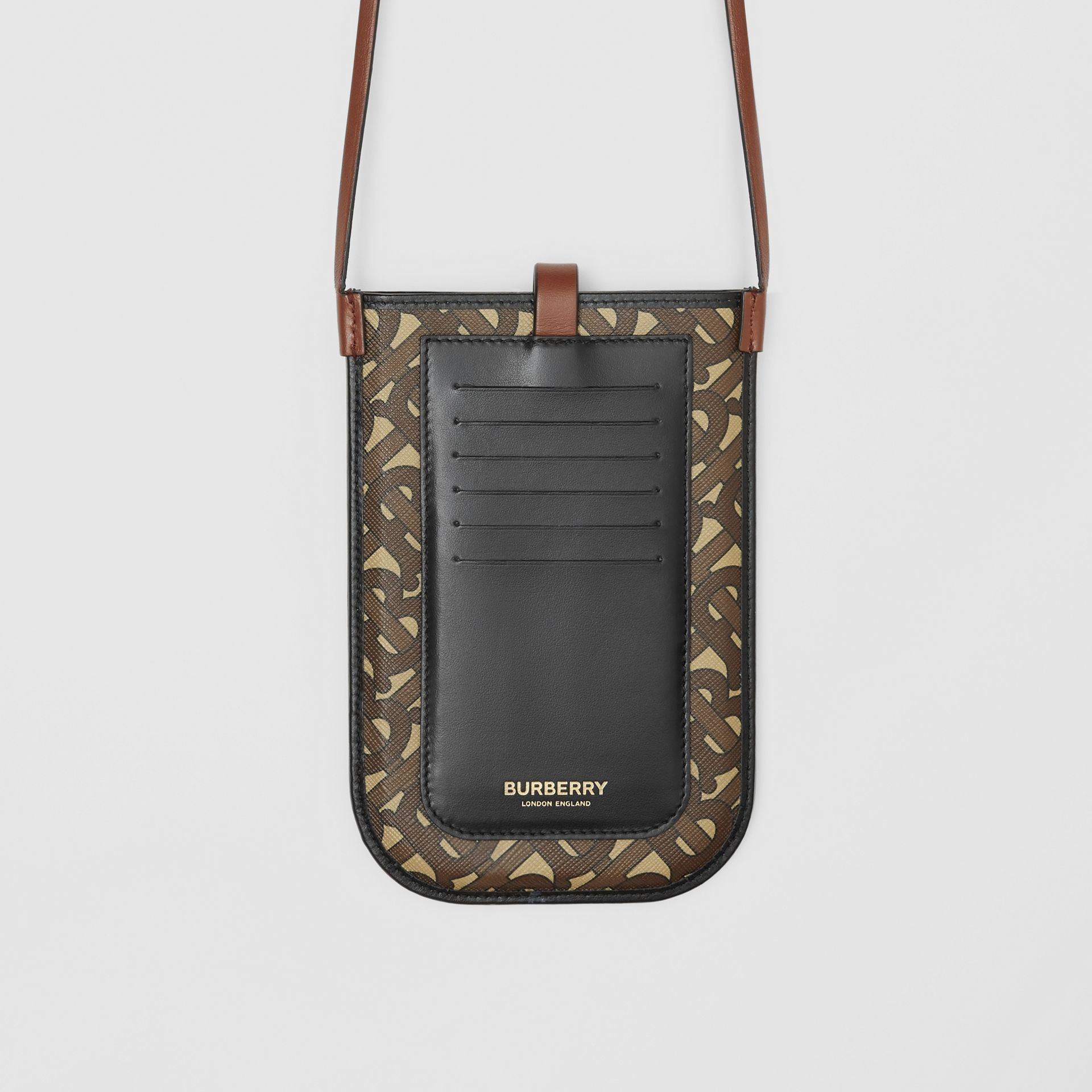 Monogram Print E-canvas Phone Case with Strap in Bridle Brown | Burberry - gallery image 10