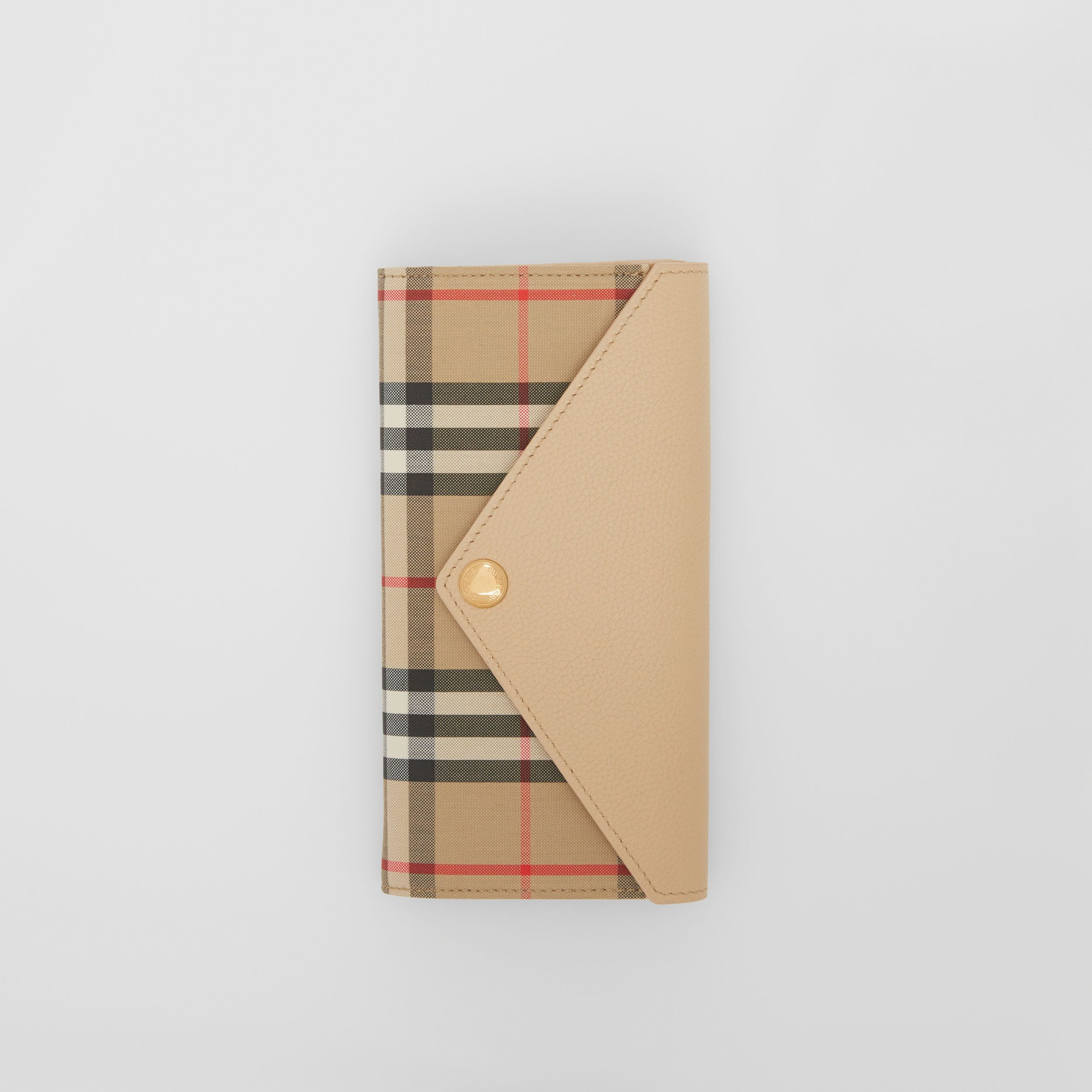 Vintage Check and Leather Continental Wallet in Light Beige - Women | Burberry - 3