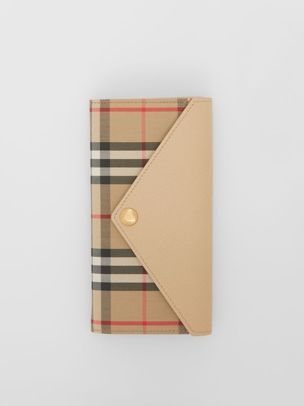 Vintage Check and Leather Continental Wallet in Light Beige - Women | Burberry - cell image 2