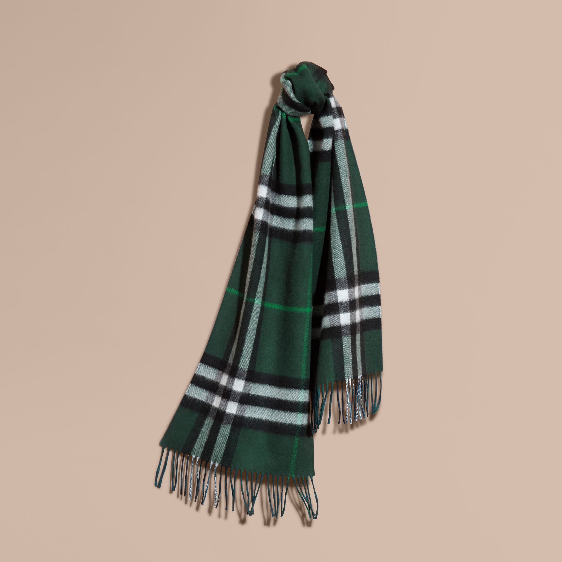 Reversible Check Cashmere and Block-colour Scarf Dark Forest Green/marine Blue - gallery image 5