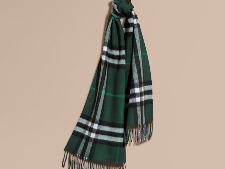 Reversible Check Cashmere and Block-colour Scarf Dark Forest Green/marine Blue - cell image 4