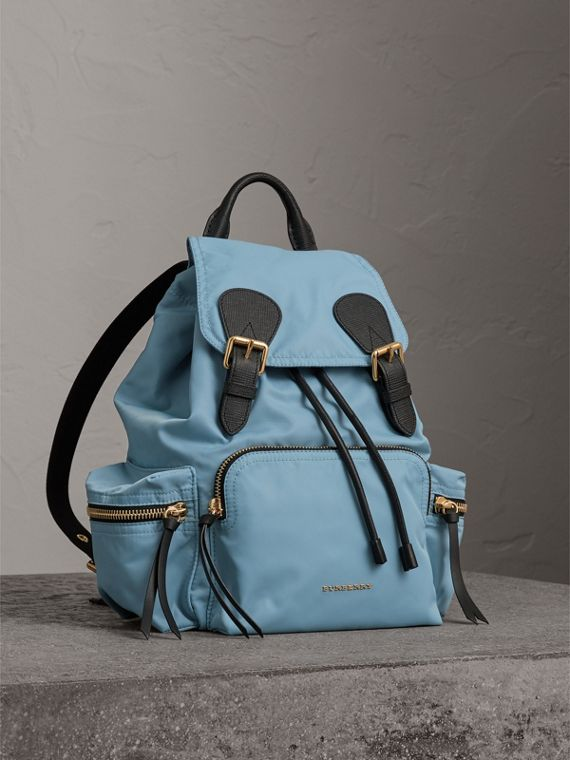 The Medium Rucksack in Technical Nylon and Leather in Pale Bluebell