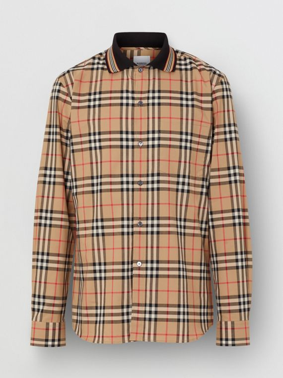 Icon Stripe Detail Vintage Check Cotton Shirt in Archive Beige