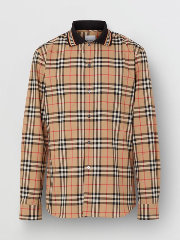 Icon Stripe Detail Vintage Check Cotton Shirt in Archive Beige - Men | Burberry - cell image 3