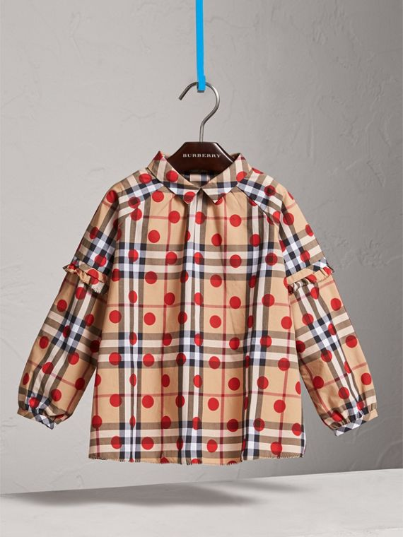 Ruffle Detail Polka-dot Check Cotton Top in Parade Red - Girl | Burberry United States - cell image 2