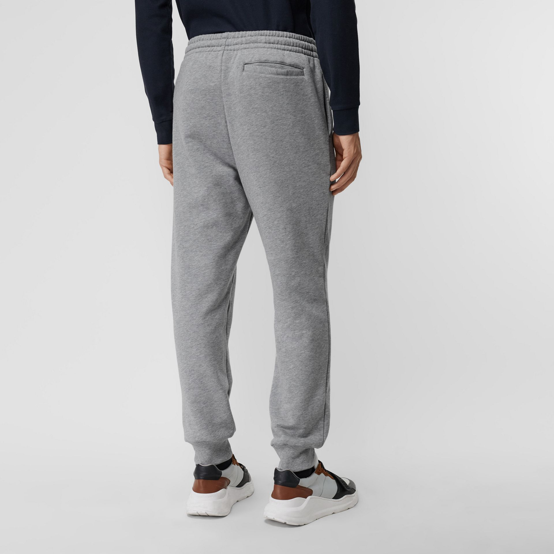 Chequer EKD Cotton Trackpants in Pale Grey Melange - Men | Burberry - gallery image 2