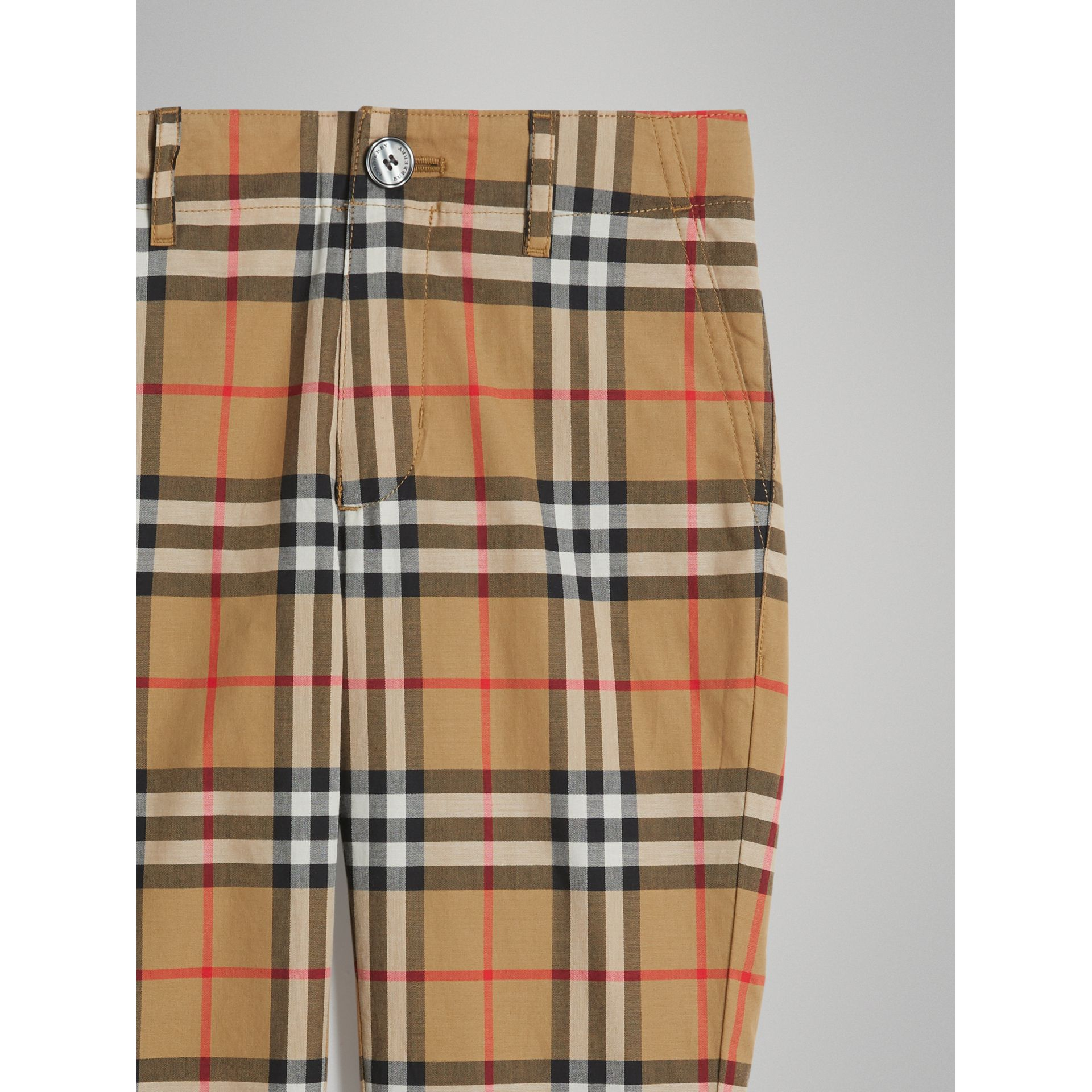 Vintage Check Cotton Tailored Trousers in Antique Yellow - Boy | Burberry - gallery image 4