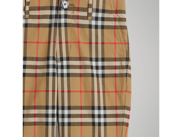 Vintage Check Cotton Tailored Trousers in Antique Yellow - Boy | Burberry - cell image 4