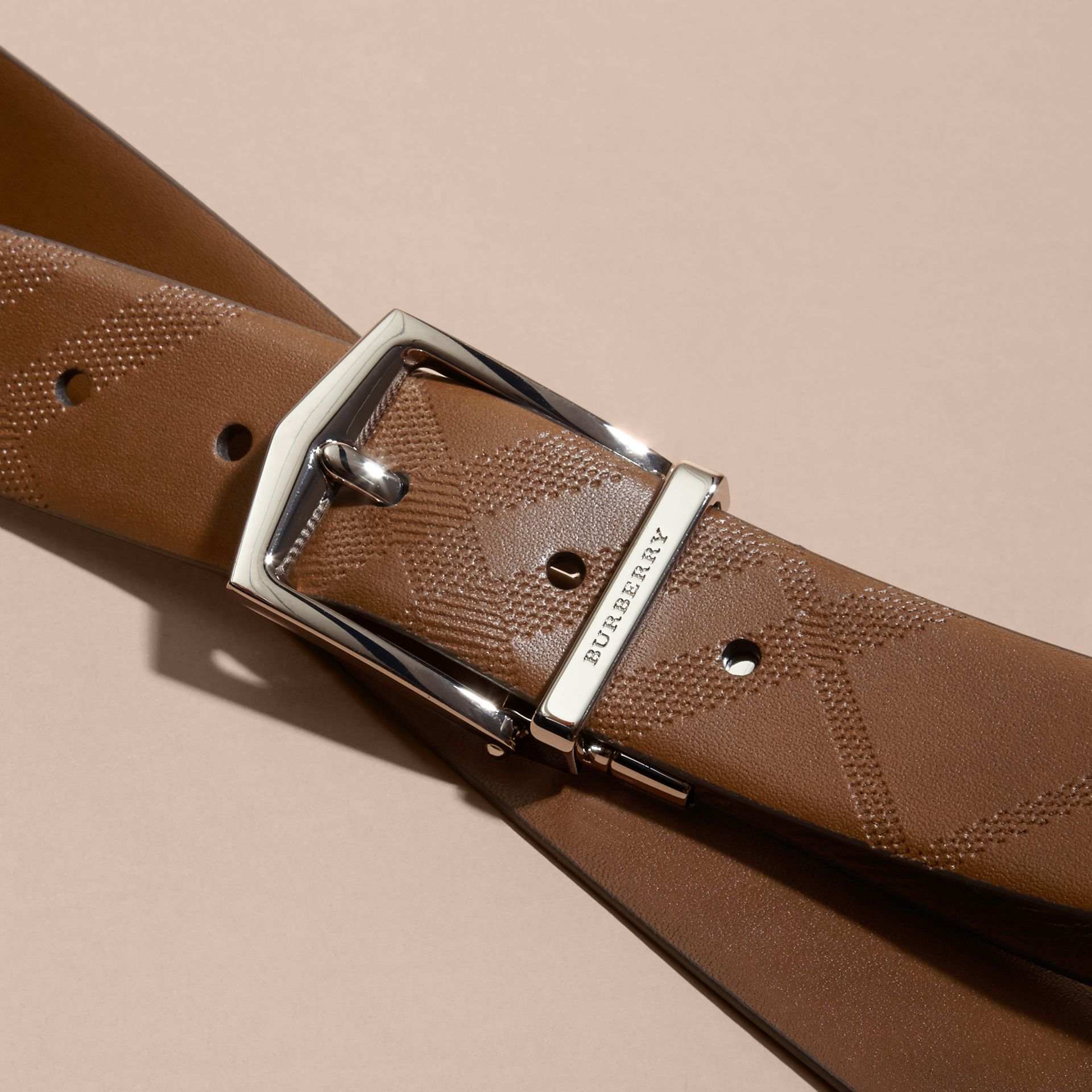 Tan Reversible Embossed Check Leather Belt Tan - gallery image 2
