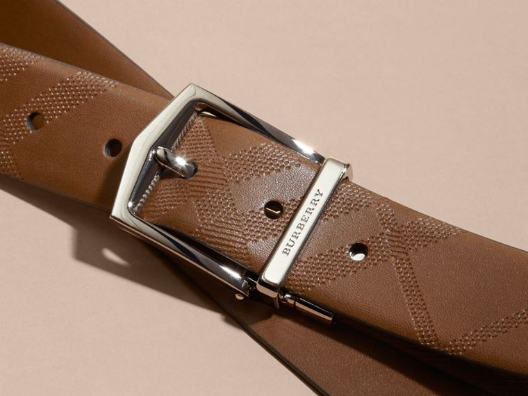 Tan Reversible Embossed Check Leather Belt Tan - cell image 1