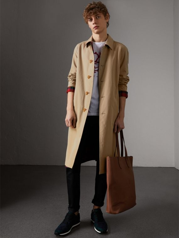 Embossed Leather Tote in Chestnut Brown | Burberry Australia - cell image 3