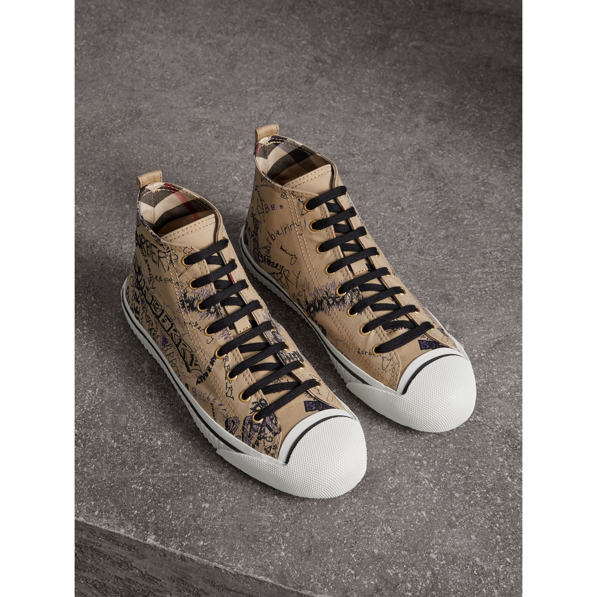 Doodle Print Cotton Gabardine High-top Trainers in Honey - Men | Burberry - gallery image 1