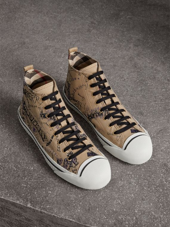 Doodle Print Cotton Gabardine High-top Trainers in Honey