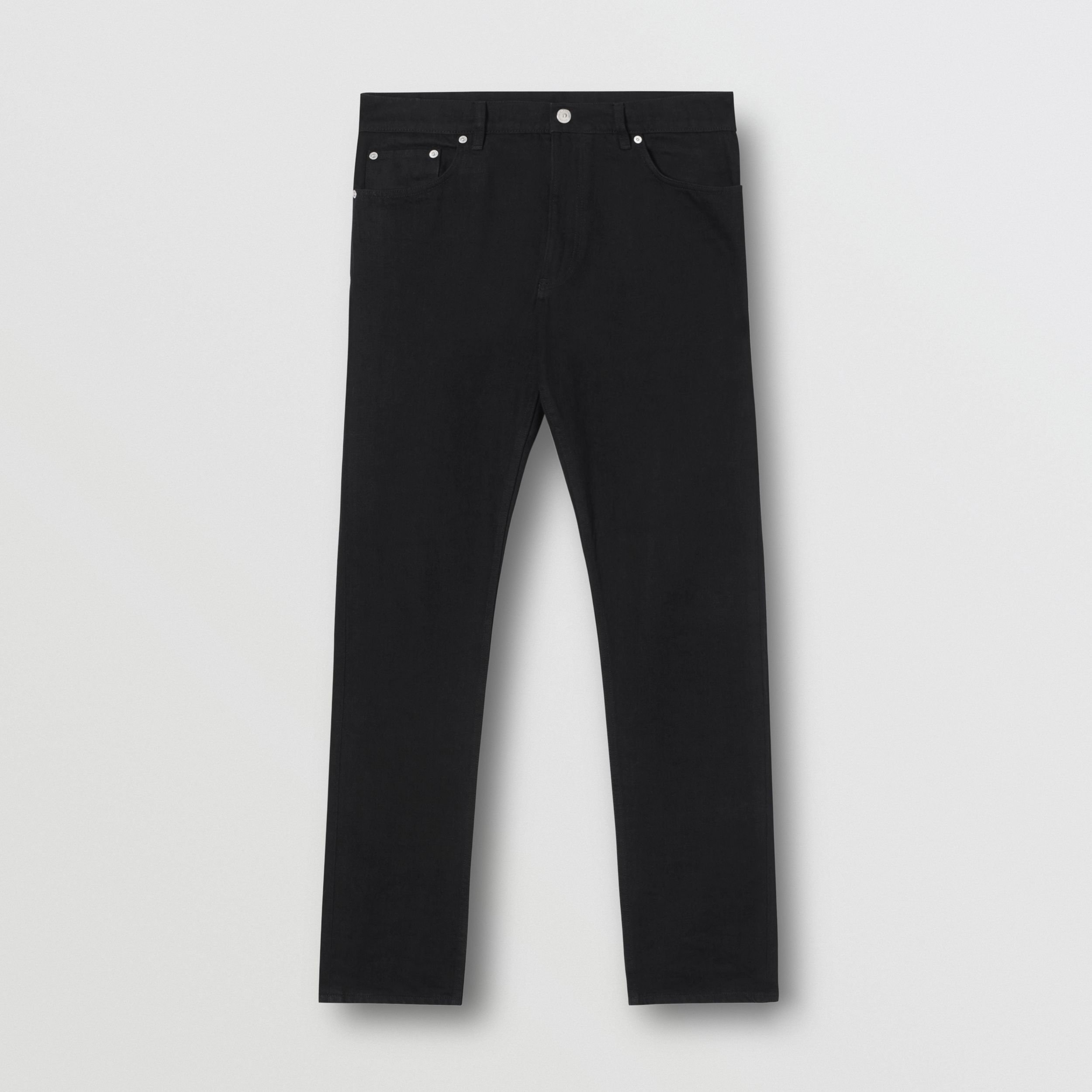 Straight Fit Japanese Denim Jeans in Black - Men | Burberry - 4