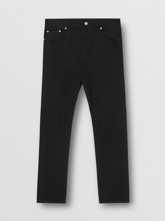 Vaqueros de corte recto en tejido japonés (Negro)