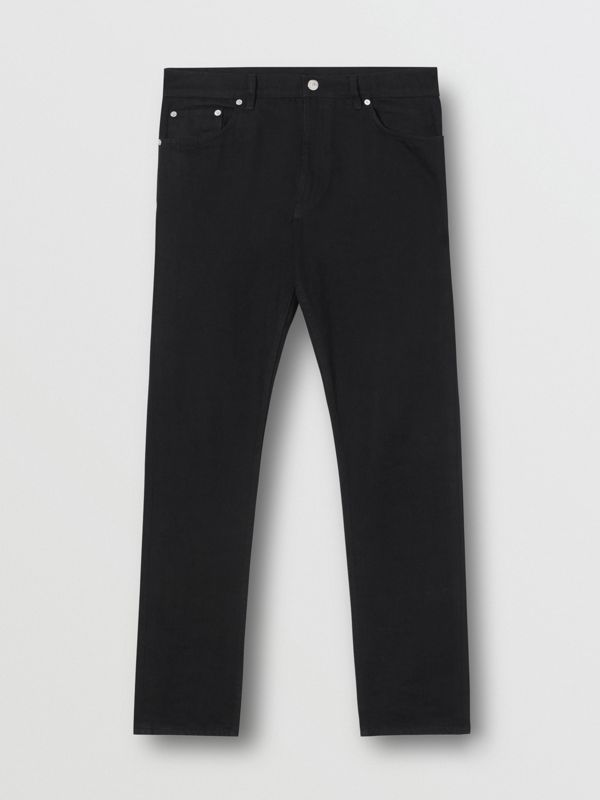Straight Fit Japanese Denim Jeans in Black - Men | Burberry - cell image 3