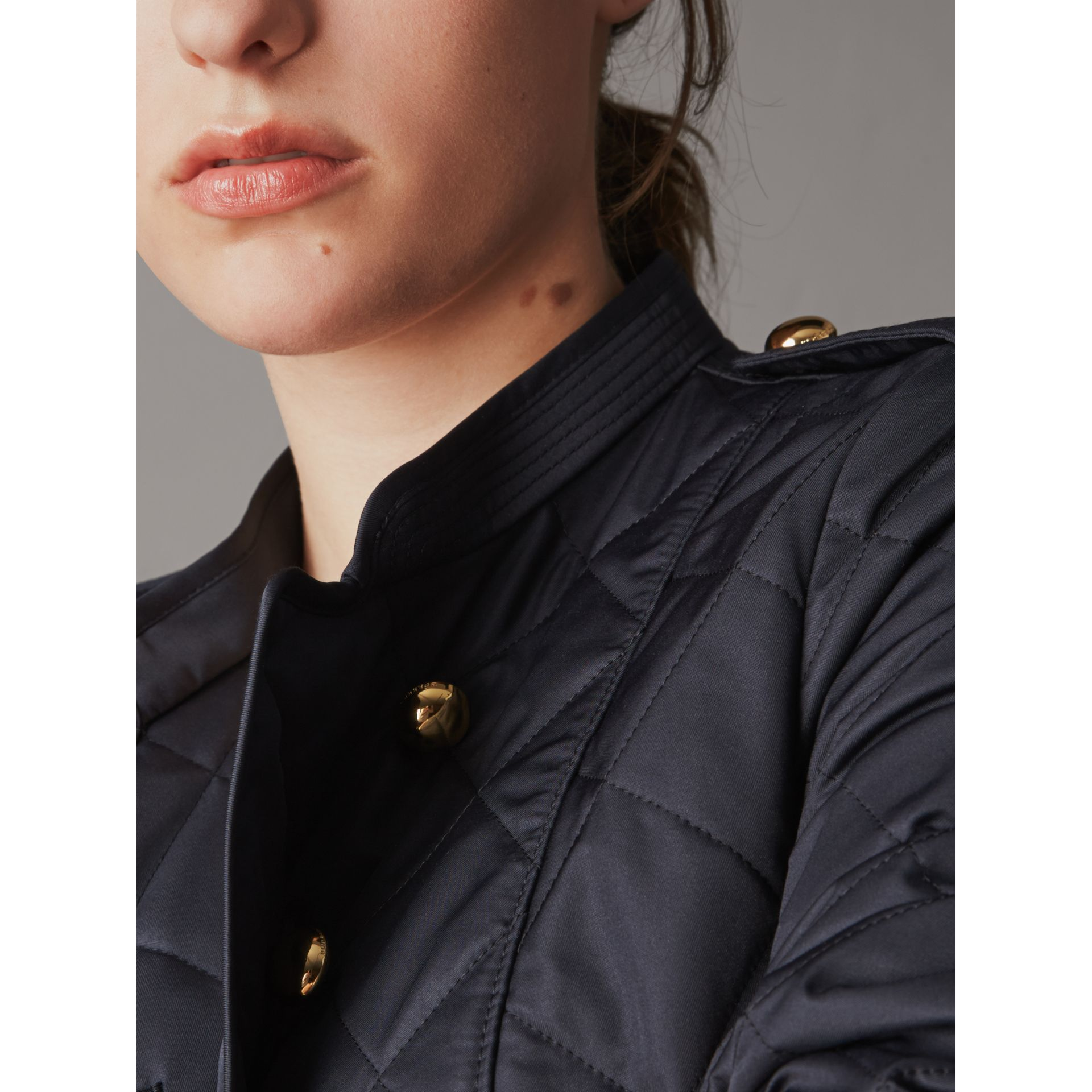 Double-breasted Quilted Military Jacket in Navy - Women | Burberry - gallery image 4