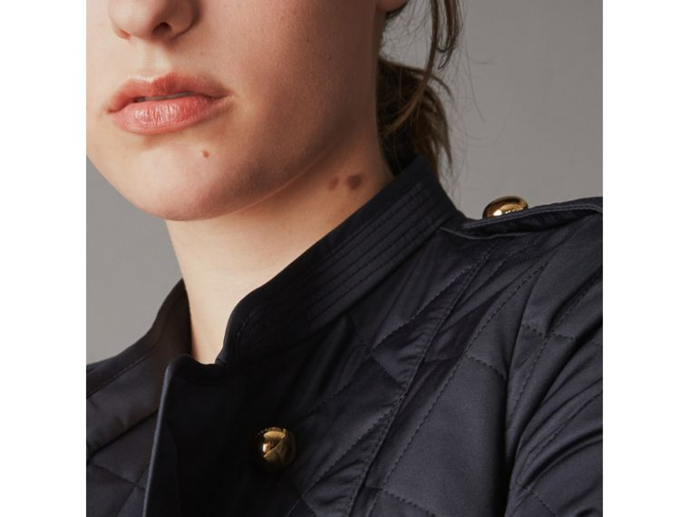 Double-breasted Quilted Military Jacket in Navy - Women | Burberry - cell image 4