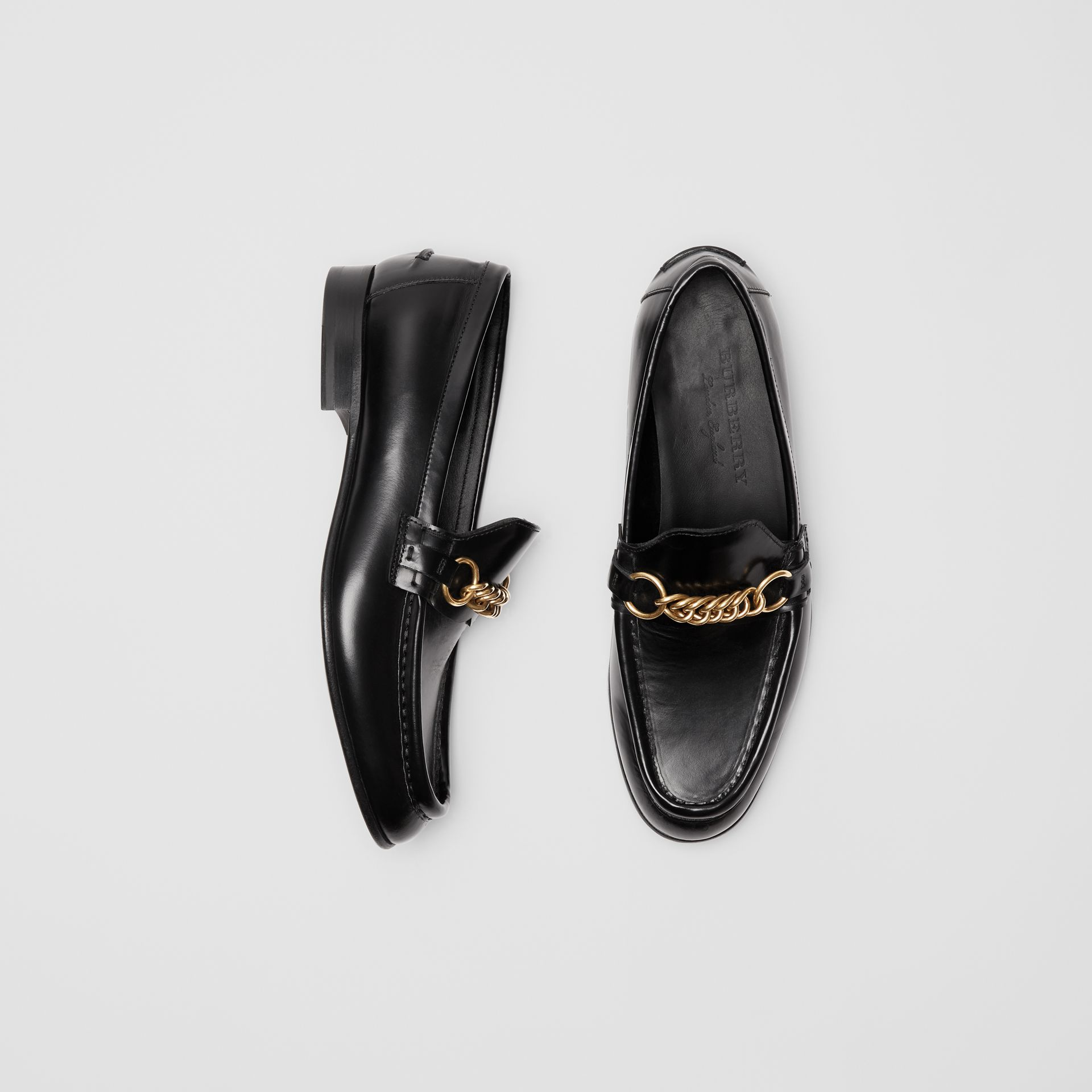 The Leather Link Loafer in Black - Women | Burberry - gallery image 0