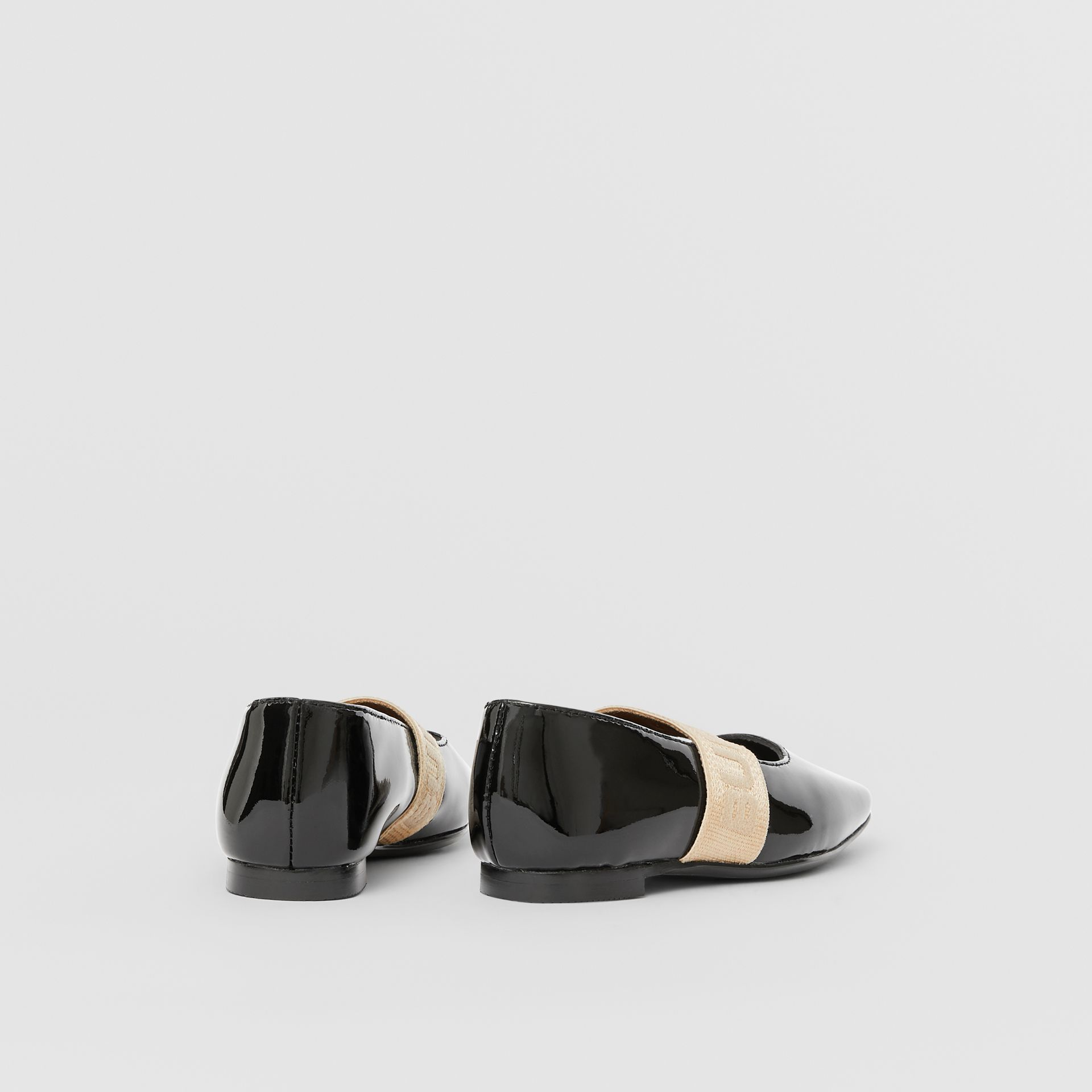 Logo Detail Patent Leather Flats in Black - Children | Burberry - gallery image 2