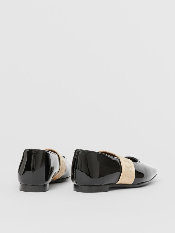 Logo Detail Patent Leather Flats in Black - Children | Burberry United States - cell image 2